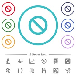 Blocked flat color icons in circle shape outlines. 12 bonus icons included.