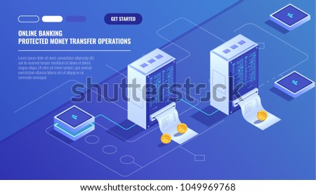 Blockhain scheme, mining crypto currency, server room, powered computers, data processing, money transaction in internet isometric vector technology