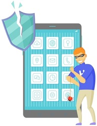 Blocking hacker attack. Hacker breaks into smartphone. Cyber attacker trying to hack mobile device. Breaking phone, cracking apps, cartoon vector isolated. Hacking, protection system break down