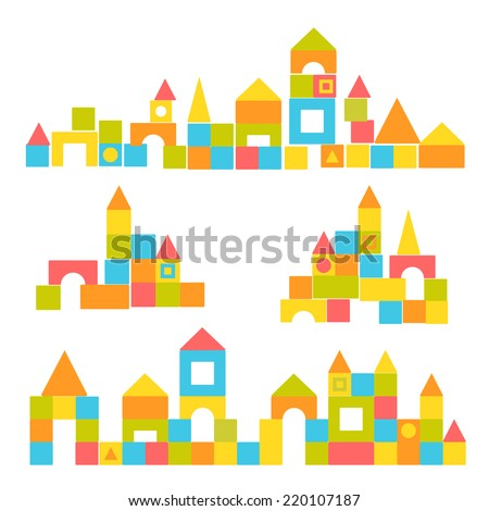 Blocks castle set ストックフォト ©