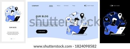 Blog articles website UI kit. Blog menu element, subscribe for publications, news article, company website page, web element, UI design, blogging resource landing and mobile app vector UI template.