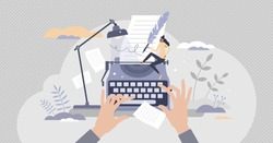 Blog author and creative literature writer and freelancer tiny person concept. Publishing editor and journalist creates post for social media or personal website vector illustration. Press release job