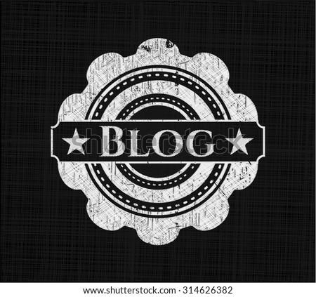 Blog chalkboard emblem written on a blackboard