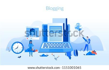 Blog content, Blogging, post Concept for web page, banner, presentation, social media, documents, cards, posters. Vector illustration . Commercial Blog posting, Internet Blogging service