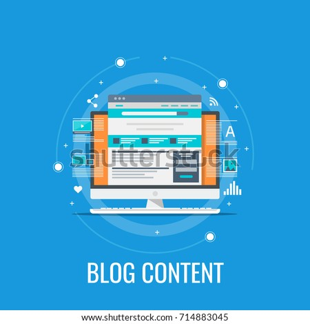 Blog content, Blogging, post, content strategy flat vector illustration isolated on blue background
