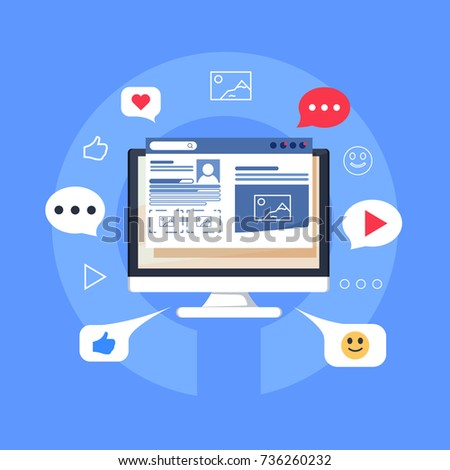 Blog content, Blogging, post, content strategy flat vector illustration isolated on blue background. Business Blogging. Commercial, digital content marketing flat line vector banner with icons