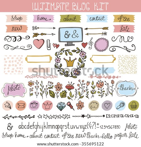 Blog design doodle elements.Vintage Floral hand drawing vector set of trendy decoration.Feminine pastel colors labels,shapes,buttons,laurels,icons,arrows,  decorative borders,brushes,text dividers.