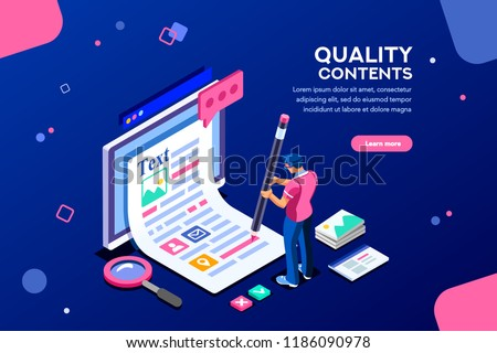 Blog edit, post infographic with pencil. Research promotion for seo content or marketing. Create education concept with characters and text. Flat isometric images, vector illustration.