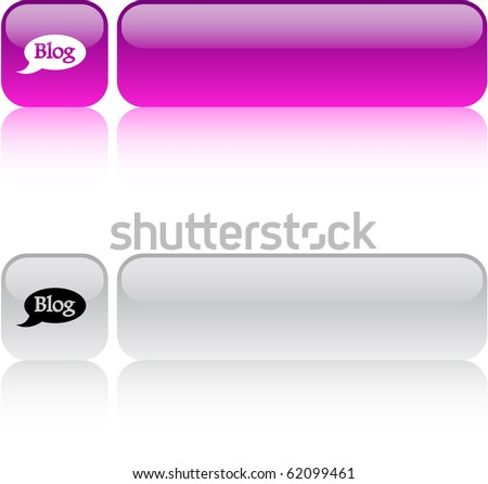 Blog glossy square web buttons.