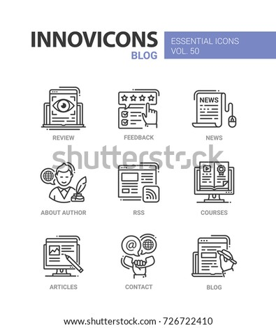 Blog - modern vector line design icons set. Review, eye, feedback, star, hand, news, mouse, document, author, biography, rss, distant course, computer, article, pencil, contact, phone, laptop