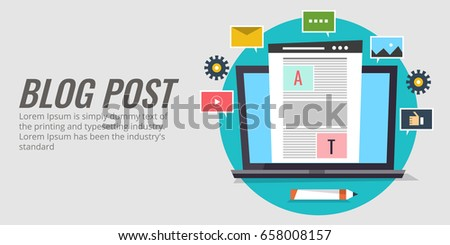 Blog post writing, blogging, content writing, social media sharing flat vector banner with icons isolated on light background