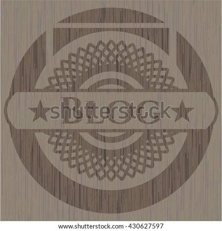 Blog retro style wooden emblem