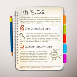 Blog web site template - Open notepad with colorful bookmarks