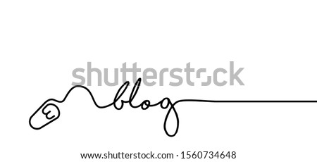 Blog with mouse icons Social media network symbols Funny vector  blogging quote concept Connecting communication for blogger content,  Communicate to post mail Share about blogs Mailbox mailing online Foto stock ©