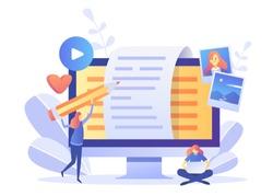 Blogger, Blog content, Blogging, post Concept for web page, banner, presentation, social media, documents, cards, posters. Vector illustration . Commercial Blog posting, Internet, Making You Content