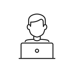 Blogger or user with laptop computer on remote work from home office line vector icon. Editable stroke symbol of a person at the desk with a workstation at his own workspace in coworking or home V1