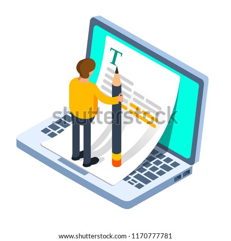 Blogger writing article. Story telling, writing concept. Vector