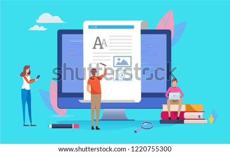 Blogging, Blogger. Freelance. Creative writing. Copy writer.  People vector illustration. Flat cartoon character graphic design. Landing page template,banner,flyer,poster,web page