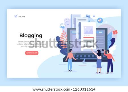 Blogging concept illustration, perfect for web design, banner, mobile app, landing page, vector flat design Photo stock ©
