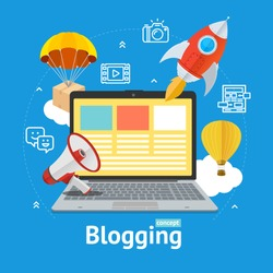 Blogging Concept with Portable Laptop Computer Display Device Technology Management Business. Vector illustration of Pc Blog Communication Signs