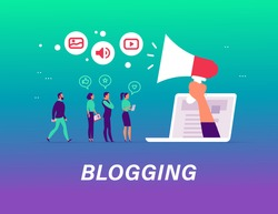 Blogging concept with tiny people, laptop and social media review and feedback icons. Landing page design template, web interface, mobile app. Vector flat illustration.