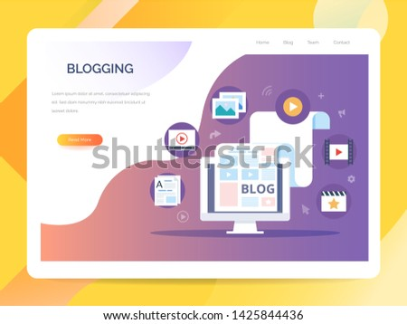 Blogging, Content Marketing and SMM concept in flat design. The blog page fill out with content. articles and media materials uploading process. Creating, marketing and sharing of digital - vector ill #1425844436