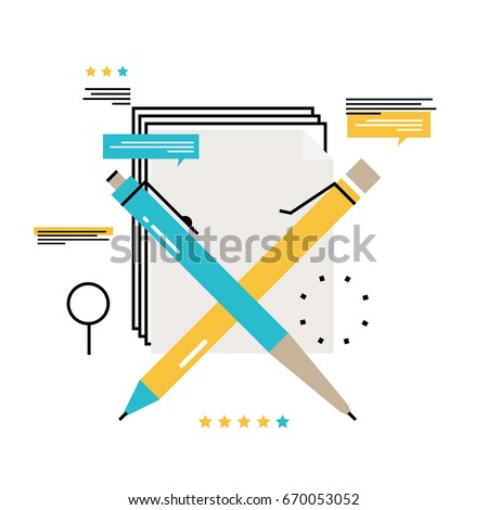 Blogging, creative writing, content management, writing articles, news, consulting, copywriting, seminars, tutorials, workshops flat line vector illustration design for mobile and web graphics