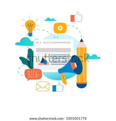 Blogging, education, creative writing, content management, writing articles, news, copywriting, seminars, tutorials, workshops flat vector illustration design for mobile and web graphics