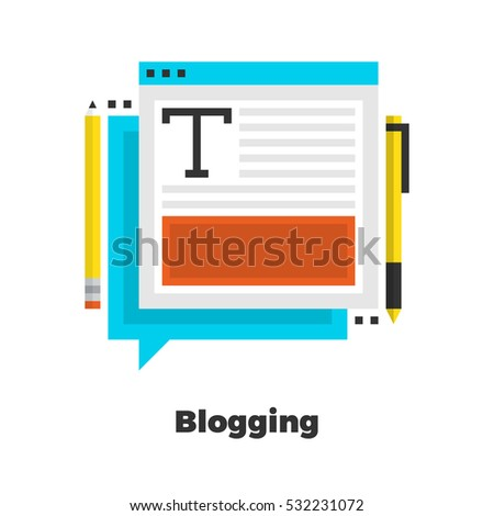 Blogging Flat Icon. Material Design Illustration Concept. Modern Colorful Web Design Graphics. Premium Quality. Pixel Perfect. Bold Line Color Art. Unusual Artwork Isolated on White.