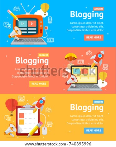 Blogging Flyer Banners Posters Card Set with Checklist, Television and Computer Connection Technology. Vector illustration of Blog Banner