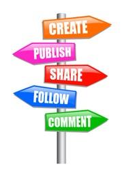 Blogging guidepost, vector clip art