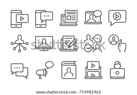 Blogging, media and communication icon set. Thin line, flat design.