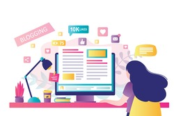 Blogging on desktop computer. Content development for online news, blogs and website, copywriting concept. Woman blogger or copywriter on modern workplace. Flat design vector illustration
