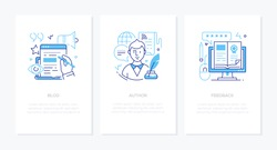 Blogging online - line design style banners set with place for text. Blog, author, blogger, feedback linear illustrations with icons. Copywriting, website rating, articles ideas. Social media theme