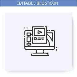 Blogging platform line icon. Streaming or broadcasting platform. Media hosting service. Social media. Blogging and broadcasting. Social network. Isolated vector illustration. Editable stroke
