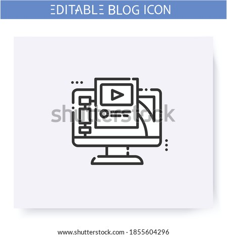 Blogging platform line icon. Streaming or broadcasting platform. Media hosting service. Social media. Blogging and broadcasting. Social network. Isolated vector illustration. Editable stroke  Zdjęcia stock ©