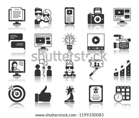 Blogging silhouette icons set. Monochrome web sign kit of app blog. Online channel pictogram as broadcast interview, creative idea, tv presenter. Simple vector symbol. Vlog shape icon with reflection