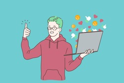 Blogging, social media communication, attracting followers and getting likes concept. Engaging content, internet promotion, SMM. Happy blogger, copywriter chatting, using laptop. Simple flat vector