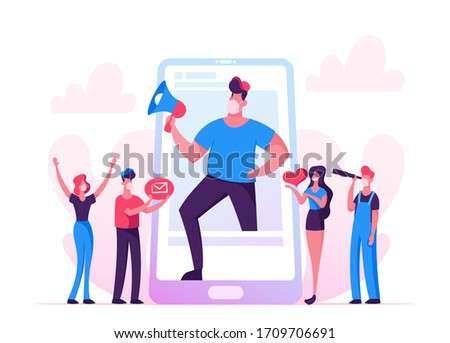 Blogging, Social Media Networking during Covid19 Pandemic. Blogger Man Character with Megaphone at Huge Smartphone Screen, People Watch Broadcasting, Streaming Video Post. Cartoon Vector Illustration