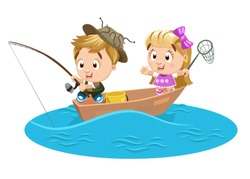 Blond boy and girl catch fish with rod and push net. Brother and sister spending summertime at boat on river or lake. Kid`s hobby, pastime at weekend concept, Vector cartoon isolated on white.