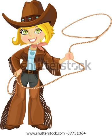 Blond cowgirl with Lasso
