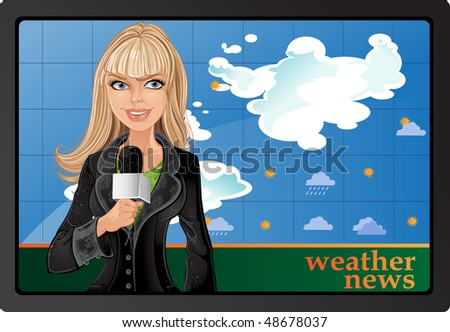 blond girl anchorman with
