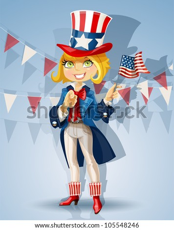 Blond girl in a suit of Uncle Sam Celebrates 4th of July