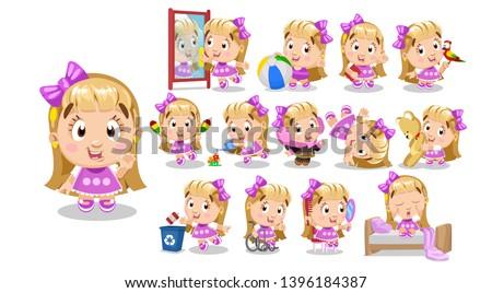 blond girl in pink dress kid