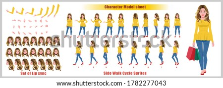 Blond Hair Shopping Girl Character Design Model Sheet with walk cycle animation. Girl Character design. Front, side, back view and explainer animation poses. Character set with lip sync