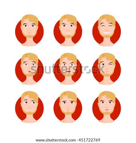 blond man illustration set