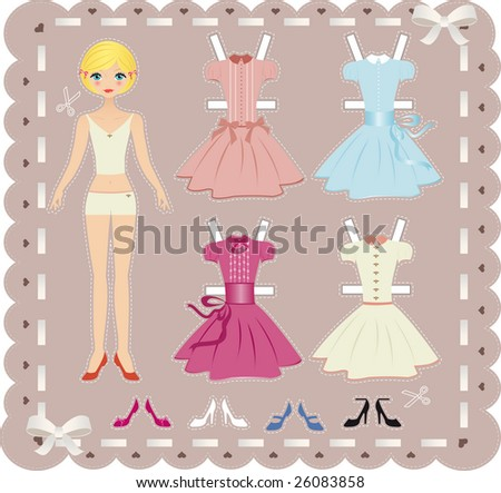 blond teenage girl paper doll