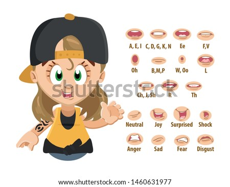 Blond tomboyish girl, student, skater in cap shows to set of mouth, teeth positions. Lip sync emotions collection. Can be used for animation. Cartoon vector illustration isolated on white.