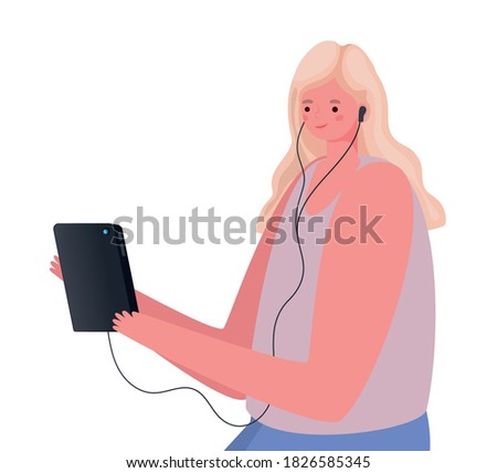 blond woman cartoon with tablet