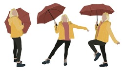 Blond woman with red umbrella and yellow coat in different positions. In flat and line style, hand drawn and vectorized. Perfect for fashion brochures, illustrations, autumn or winter backgrounds...